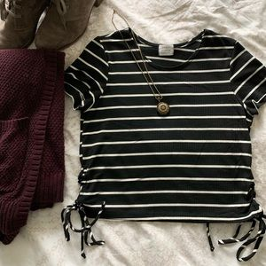 Striped crop top with tie-up sides